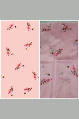 Bulk Flower Printed Organza Fabric For Garments