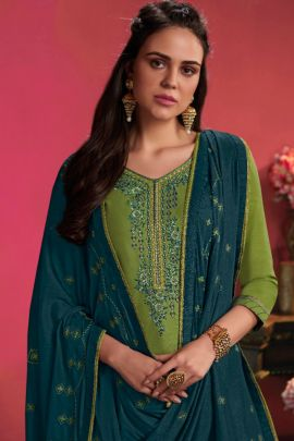 Bulk Punjabi Style Event Wear Embroided Cotton Satin Salwar Suit With Dupatta Set
