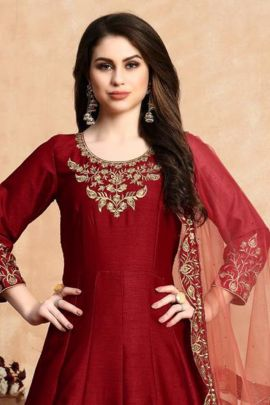 Bulk Wedding Wear Embroided Twisha Art Silk Anarkali Suit With Dupatta Set