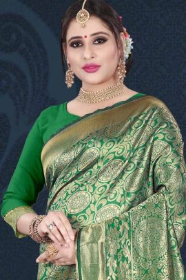 Bulk Wedding Wear Silk Weaved Saree With Matching Blouse By Aishwarya Saree