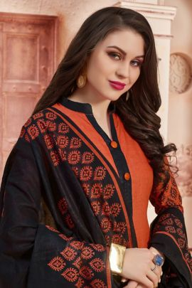 Bunch Daily Wear Printed Cotton Salwar Suit With Dupatta Set