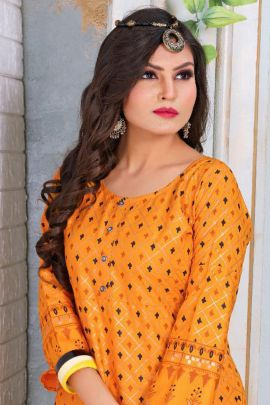 Bunch Of A Line Foil Print Rayon Festive Kurti By Trendy