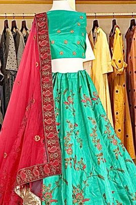 Bunch Of Bridesmaid Wear Silk Embroidery Work Lehenga Collection