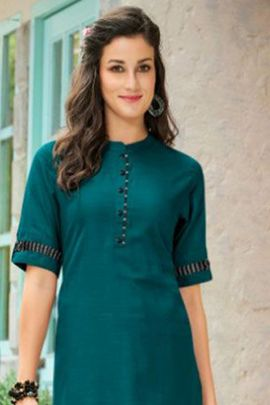 Bunch Of Casual Office Wear Cotton Plain Kurti With Elbow Sleeve
