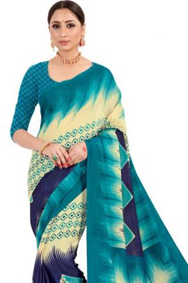 Bunch Of Daily Wear Printed Crepe Saree By VND