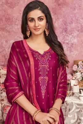 Bunch Of Designer Jam Silk Embroidered Patiyala Suit With Chinon Dupatta