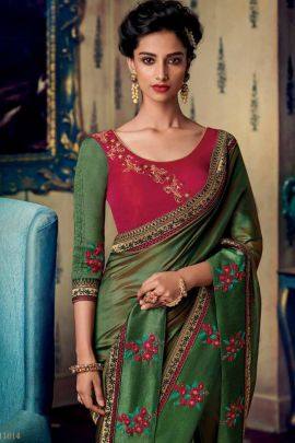 Bunch Of Fancy Fabric Lace Work Designer Wear Saree With Blouse Piece Set