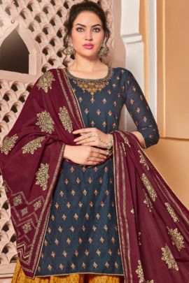 Bunch Of Festive Wear Rayon Embroidery Work Indo Western Suit Set