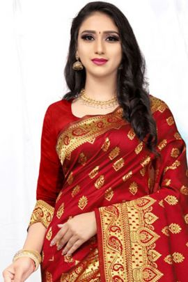 Bunch Of Jacquard Silk Zari Worked Half And Half Saree By Bharat Creation