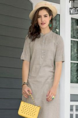 Bunch Of Office Wear Cotton Plain Half Sleeve Kurti