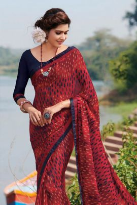 Bunch Of Printed Casual Wear Georgette Saree With Lace Border By Subhash Sarees