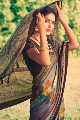 Collection Of Casual Wear Georgette Satin Printed Saree By Vallabhi Prints