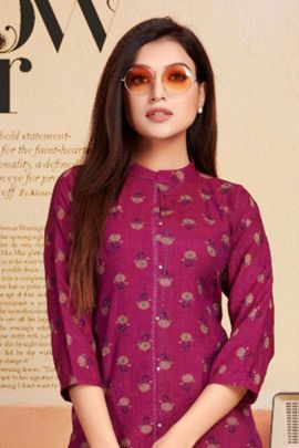 Collection Of Casual Wear Rayon Two tone Printed Hand Work Kurti By Rung