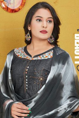 Collection Of Daily Wear Printed Chinon Trendy Salwar Suit With Dupatta