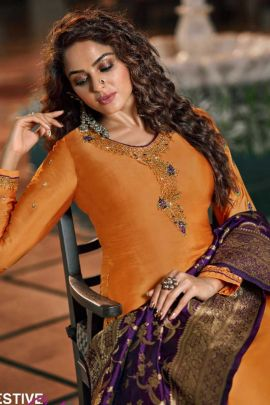 Collection Of Diamond Work Satin Georgette Suit By Zisha
