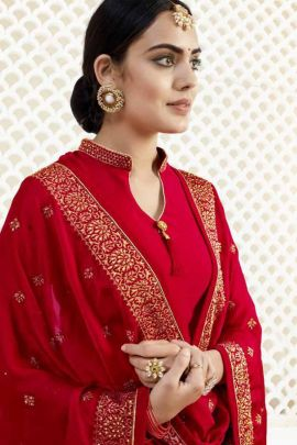 Collection Of Festival Wear Satin Georgette Indowestern Suit With Handwork By Ridhi Sidhi Fashion