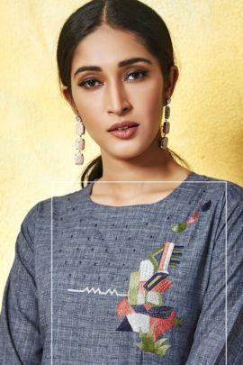 Collection Of Festive Wear Rayon Cotton Embroidery Work Tip And Tops Kurti With Plazzo