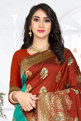 Collection Of Half And Half Jacquard Weaved Saree By Bharat Creation