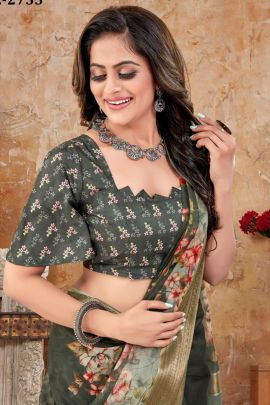Collection Of Organza Digital Printed Zari Pallu And Border Saree By Nari Fashion