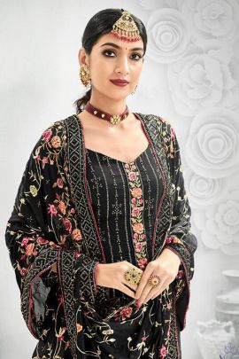 Collection Of Party Wear Chinon Heavy Embroidery Suit By Kesari