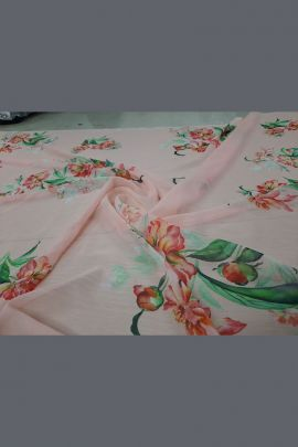 Collection Of Printed Baby Pink Chiffon Khushali Plus Fabric