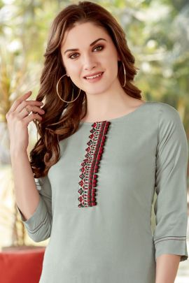 Collection Of Rayon Embroidery Hand Work Kurti With Plazzo By Mittoo