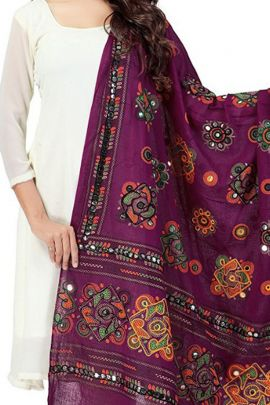 Pack Of 10 Office Causal Wear Cotton Mirror Work Kutchi Dupatta Catalog