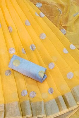 Pack Of 5 Casual Wear Linen Cotton Saree With Dots Design By JK Series
