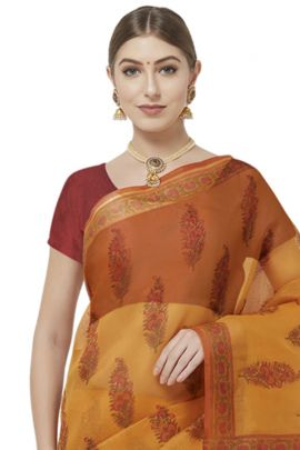 Pack Of 6 Daily Casual Wear Printed Cotton Blend VND Saree With Blouse