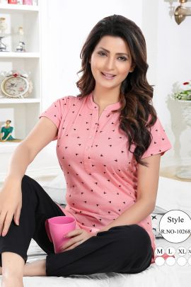 Pack Of 6 Printed Kavya Style Plus Cotton Sinker Long Style Night Suit Set