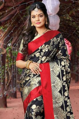 Pack Of 8 Event Wear Weaved Sangam Silk Saree With Blouse Piece Set