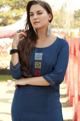 Pack Of Casual Office Wear Embroidery Rayon Side Cut Kurti Collection