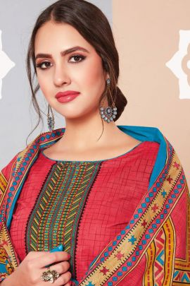 Pack Of Daily Wear Printed Cotton Salwar Suit With Dupatta Set