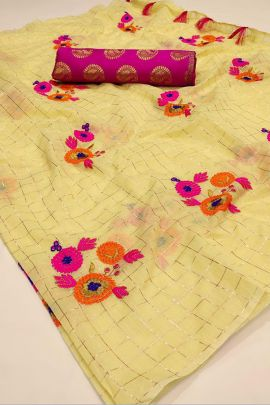 Pack Of Ethnic Event Wear Embroidery Chanderi Silk Saree With Blouse