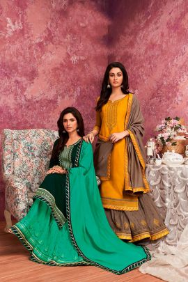 Pack Of Festival Wear Rayon Embroidery Kessi Fabrics Indo Western Collection