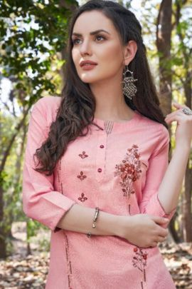 Pack Of Festive Wear Hand Work Rayon Tunic House Kurti With Pant Bunch