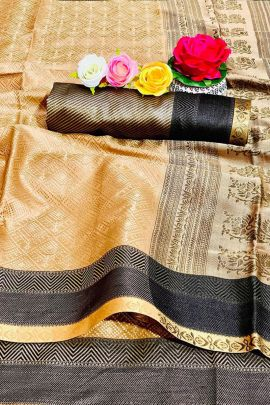 Pack Of Festive Wear Kanjivaram Dual Tone Silk Weaved Saree By Maithali Creation