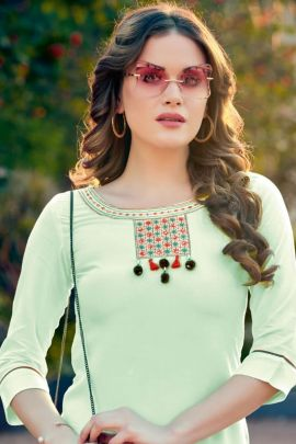 Pack Of Office Wear Rayon Embroidered Mittoo Stright Cut Kurti Bunch