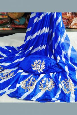 Pack Of Party Event Wear Printed Nazneen Chiffon Saree With Blouse