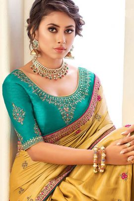Pack Of Party Wear Embroidery Work Fancy Fabric Saree With Blouse Piece Catalog