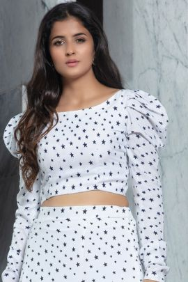 Pack Of Party Wear Printed Crepe Khushbu Fashion Crop Top And Skirt Bunch