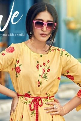 Pack Of Party Wear Printed Rayon Candy Crush Kurti Bunch