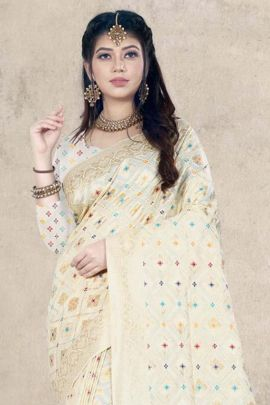 Pack Of Traditional Festive Wear Silk Weaved Saree With Tassle Border