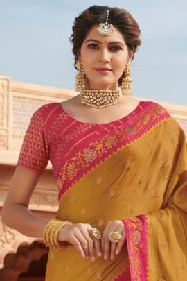 Pack Of Wedding Guest Wear Tussar Silk Embroidered Subhash Sarees With Blouse Piece