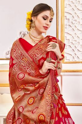 Pack Of Wedding Guest Wear Viscose Weaved Saree With Blouse Piece Bunch