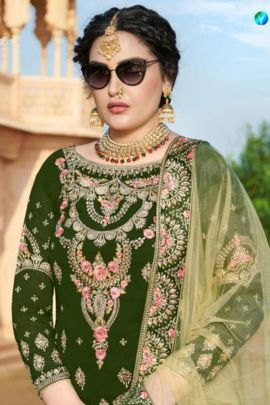 Pack Of Wedding Wear Embroidered Faux Georgette Your Choice Salwar Suit Bunch