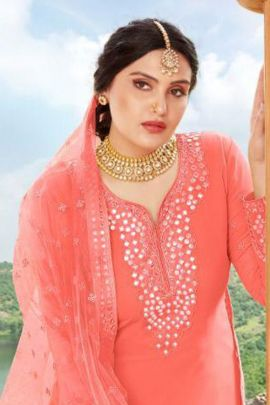 Pack Of Wedding Wear Georgette Mirror Work Your Choice Indo Western Suit With Dupatta