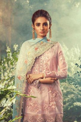 Set Of 4 Islamic Style Embroided Hoor Tex Faux Georgette Salwar Suit