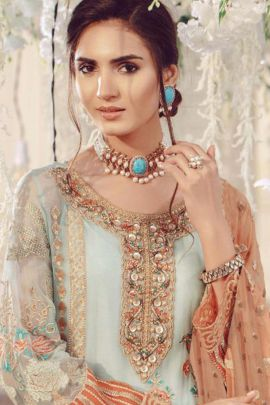Set Of 5 Designer Event Wear Embroided Eid Special Georgette Suit With Dupatta