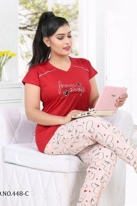 Set Of 6 Daily Wear Printed Kavya Style Plus Hosiery Cotton Night Suits